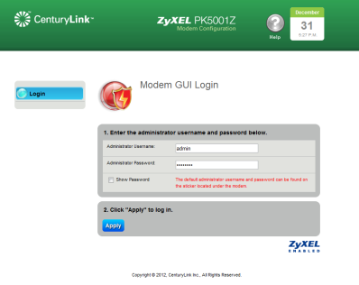 CPE] CenturyLink PK-5001z Bridging Instructions (Transparent